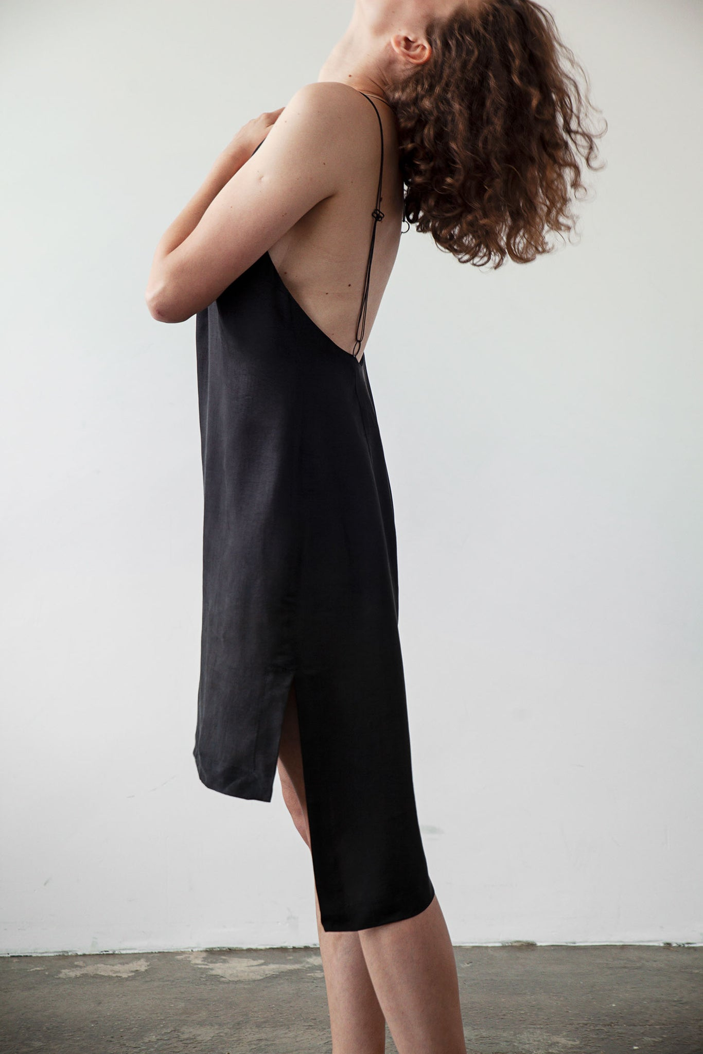 Extended back slip dress