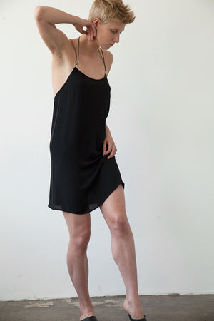 Loose fit low back mini length slip dress