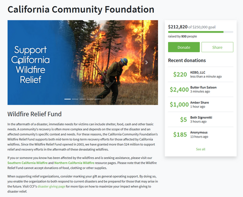 Donation to Wildfire Relief Fund