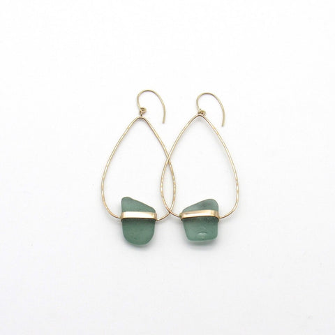 Ada | Sea Glass + Gold Earrings-Aqua-Ingrid Caduri Jewelry