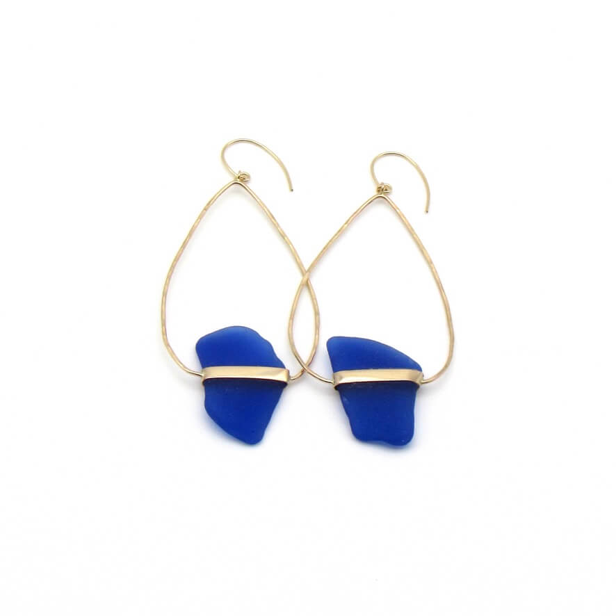 Ada | Rare Cobalt Sea Glass + Gold Earrings-Ingrid Caduri Jewelry