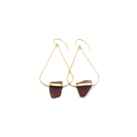 Ada | Rare Purple Sea Glass + Gold Earrings