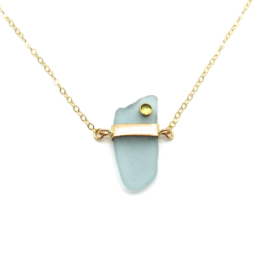 Roberta | Aqua Sea Glass & Peridot + Gold Necklace