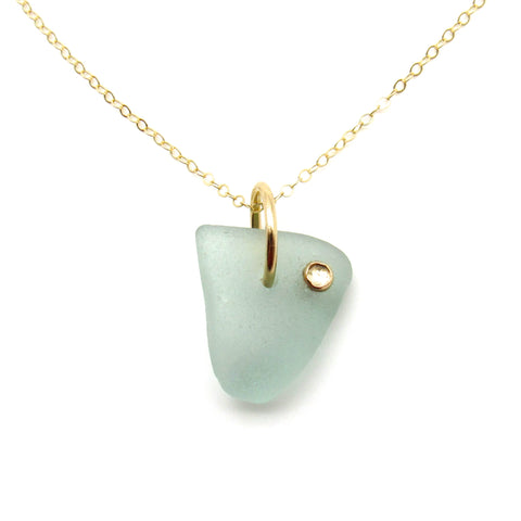 Valentina | Sea Glass & Gemstone + Gold Necklace