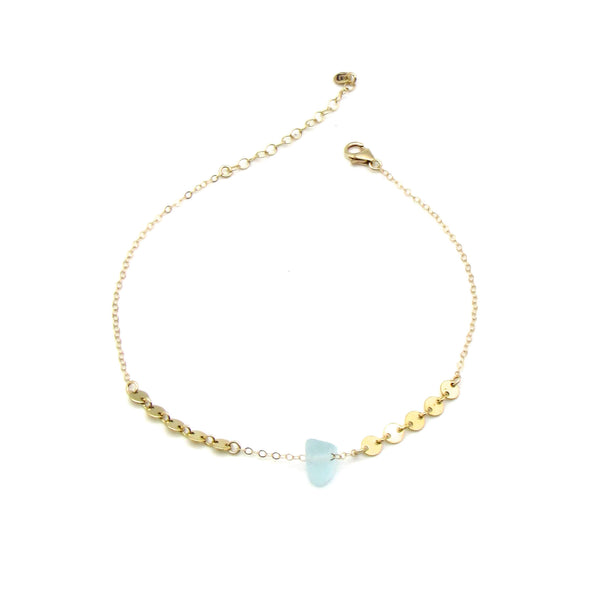 Dorothee Bracelet | Sea Glass + Gold Bracelet-Cool Aqua-Ingrid Caduri Jewelry