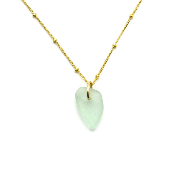 June | Sea Glass + Gold Necklace