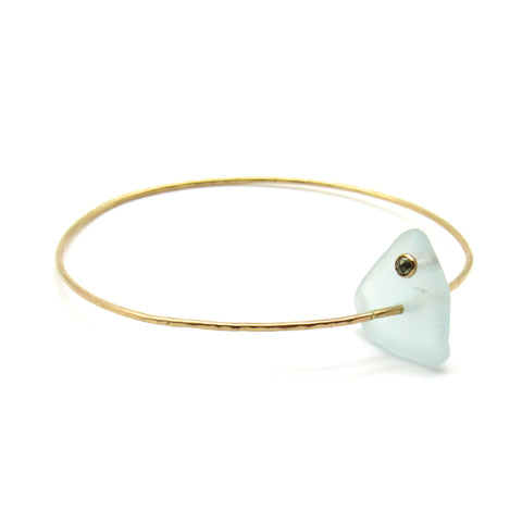 Elize Bangle Bracelet | Sea Glass & Gemstone + Gold