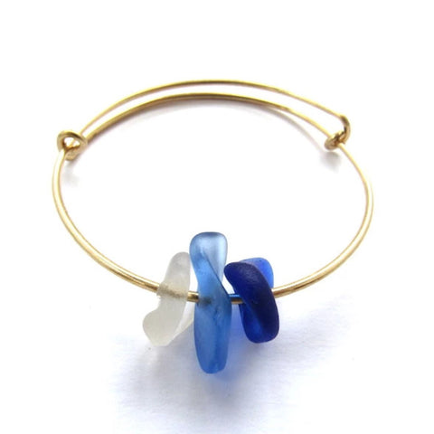 Kendra Sea Glass Bracelet in Cobalt Blue