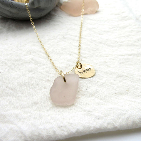 Be Love | Pink Sea Glass + Gold Necklace
