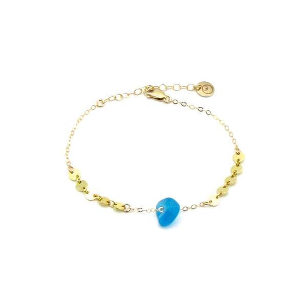 Dorothee Bracelet | Cerulean Sea Glass + Gold