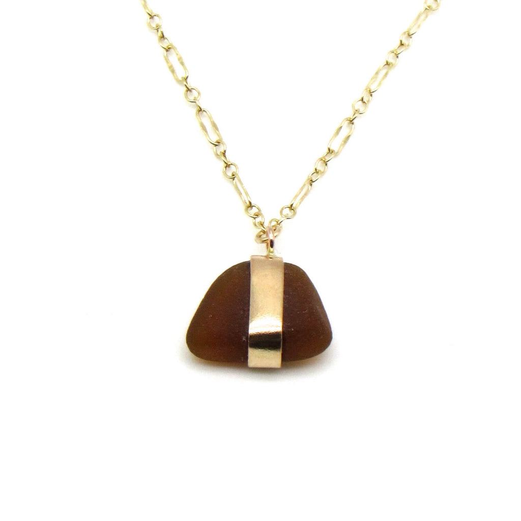 Cheri | Rare Amber Sea Glass + Gold Necklace