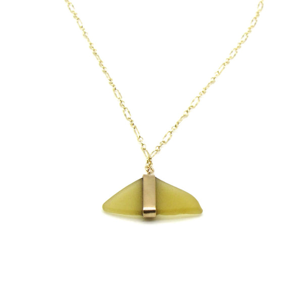 Cheri | Rare Yellow Sea Glass + Gold Necklace-Ingrid Caduri Jewelry
