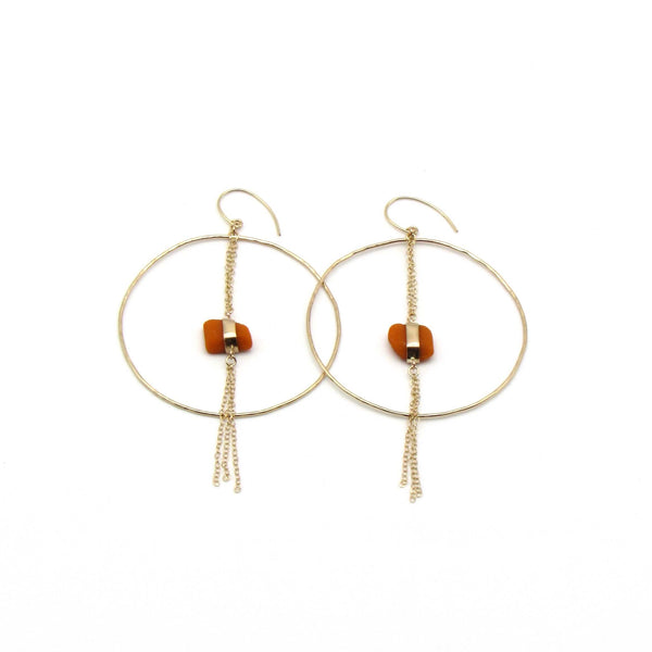 Coco | Rare Orange Sea Glass + Gold Hoop Earrings-Ingrid Caduri Jewelry