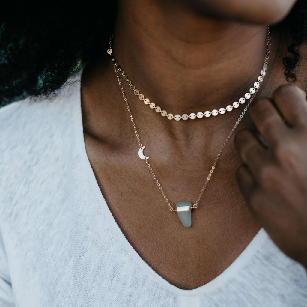 Cecilia | Sea Glass + Gold Necklace-Cool Aqua-Ingrid Caduri Jewelry