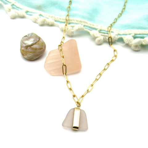 Cheri | Rose Pink Sea Glass Gold Necklace