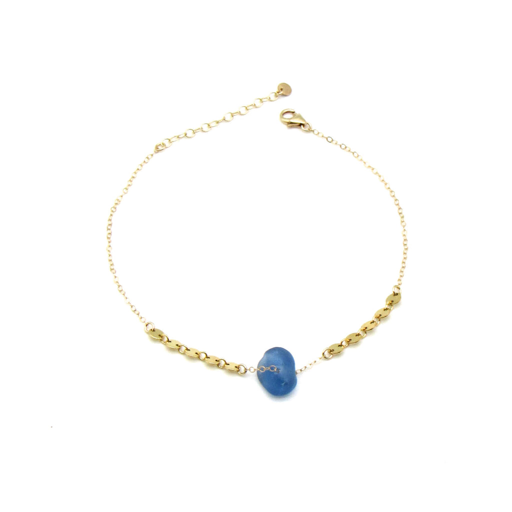 Cobalt Blue Sea Glass Gold Anklet
