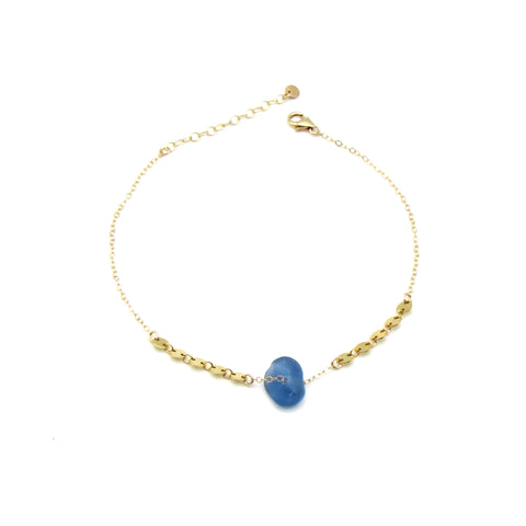 Dorothee | Sea Glass + Gold Anklet-Cobalt Blue-Ingrid Caduri Jewelry