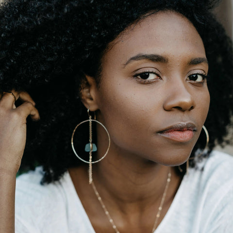 Coco | Sea Glass + Gold Hoop Earrings-Aqua-Ingrid Caduri Jewelry