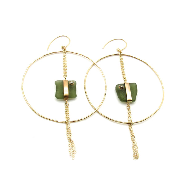 Coco Earrings | Pyrite & Sea Glass + Gold Earrings