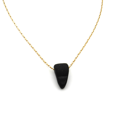 Crystal | Rare Black Sea Glass + Gold Necklace