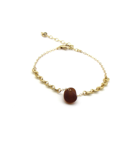 Dorothee | Amber Sea Glass + Gold Bracelet-Ingrid Caduri Jewelry