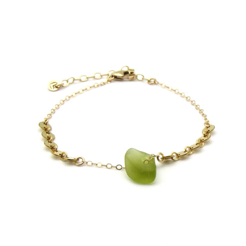 Dorothee | Citrine Sea Glass + Gold Bracelet