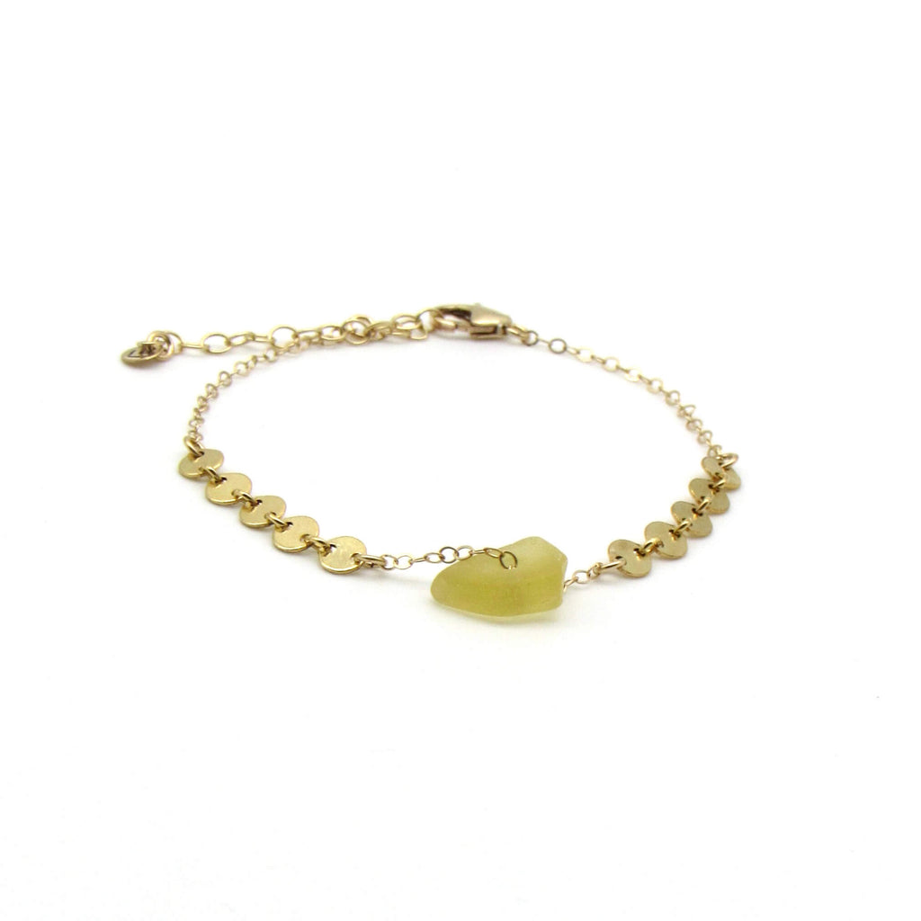 Dorothee | Yellow Sea Glass + Gold Bracelet-Ingrid Caduri Jewelry
