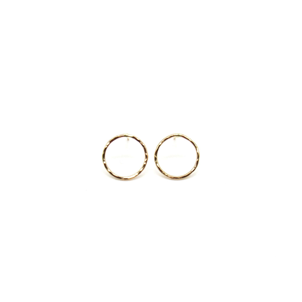 Dainty Gold Full Moon Earrings