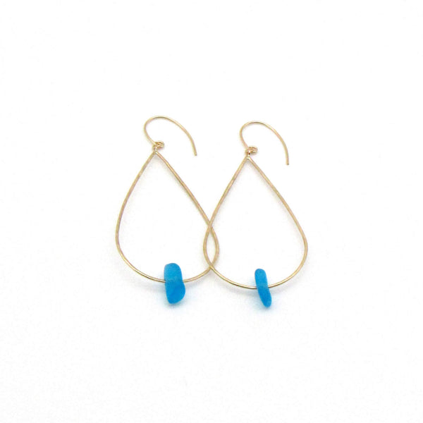 Grace Earrings | Cerulean Sea Glass + Gold