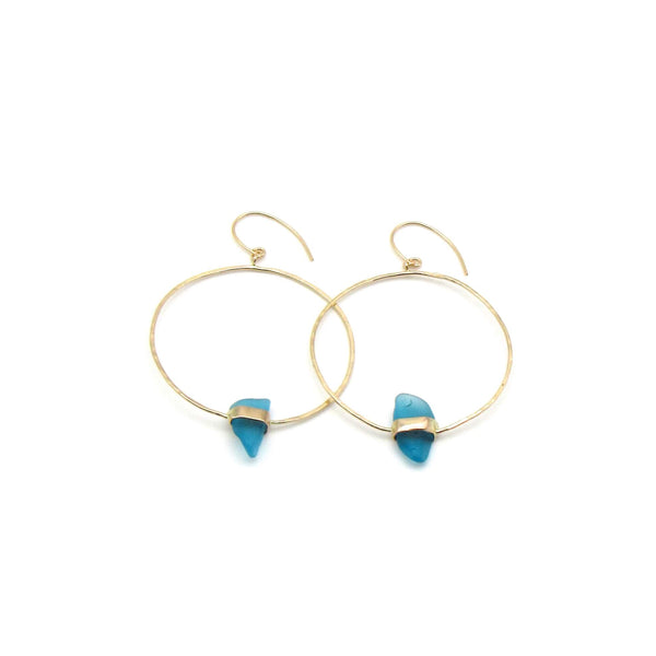 Katie Earrings | Cerulean Sea Glass + Gold