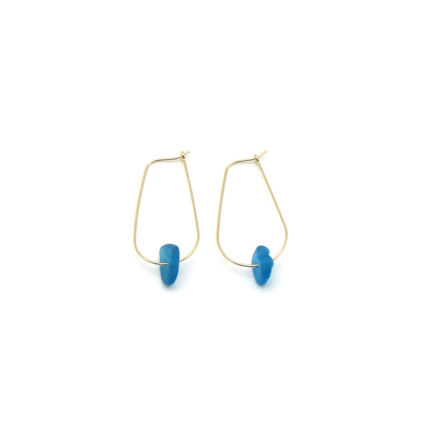 Serena Earrings | Rare Cerulean Sea Glass + Gold