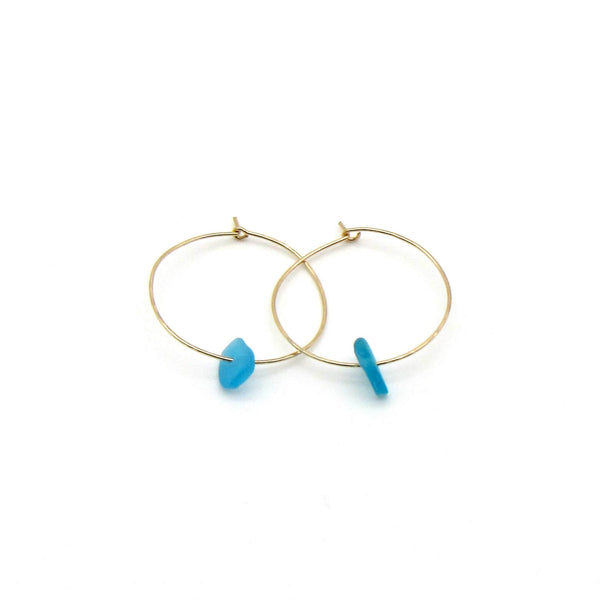 Simone Hoop Earrings | Cerulean Sea Glass + Gold