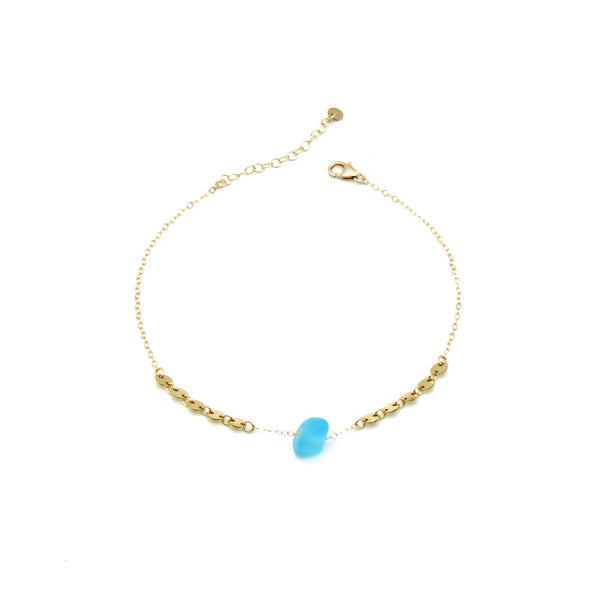 Electric Blue Sea Glass Gold Anklet