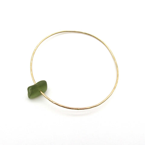 Elize Bracelet | Sage Green Sea Glass + Gold