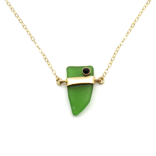 Roberta | Emerald Sea Glass & Black Spinel + Gold Necklace