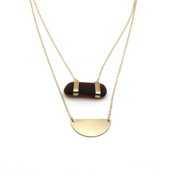 Frida | Rare Amber Sea Glass + Gold Necklace-Ingrid Caduri Jewelry