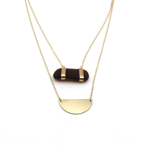 Frida | Rare Amber Sea Glass + Gold Necklace
