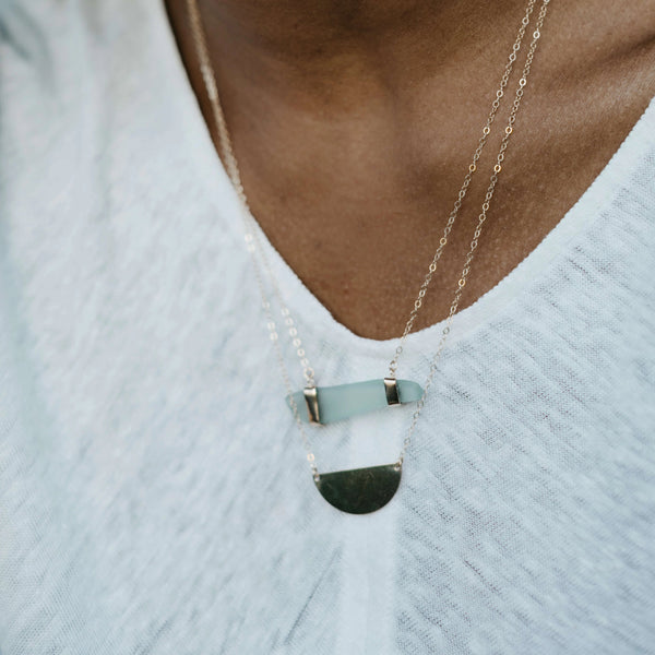 Frida | Sea Glass + Gold Necklace-Cool Aqua-Ingrid Caduri Jewelry