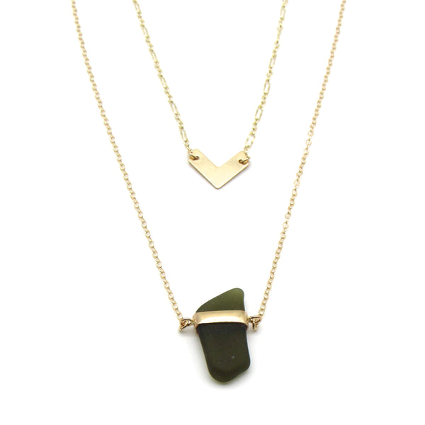 Galy | Forest Green Sea Glass + Gold Necklace