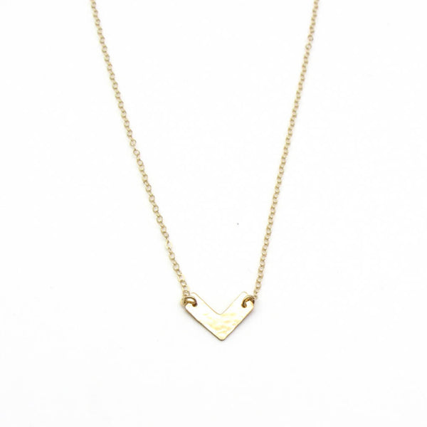 dainty gold chevron necklace