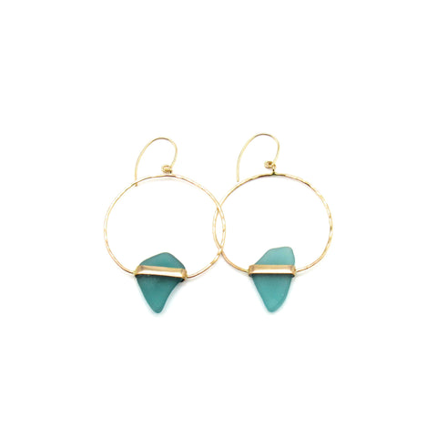 Gold and Turquoise Sea Glass Earrings