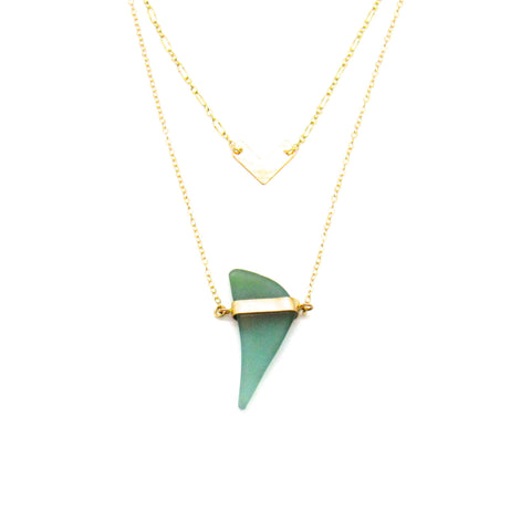 Gold and Turquoise Sea Glass Layered Necklace