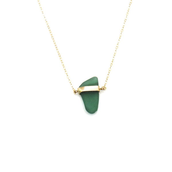 Gold and Turquoise Sea Glass Necklace