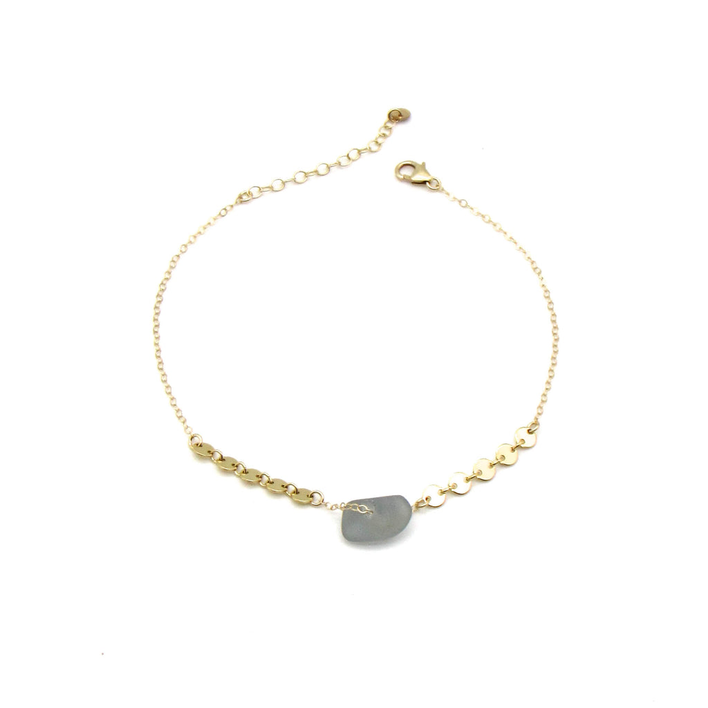 Grey Sea Glass Gold Anklet