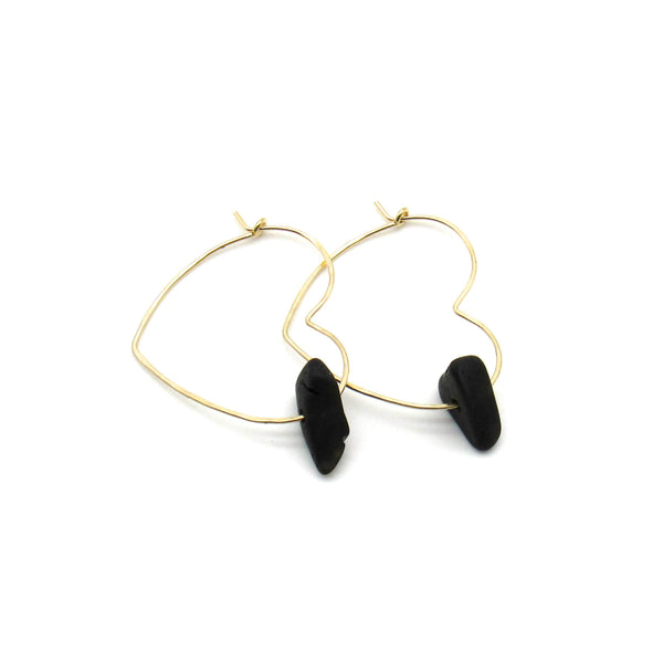 Heart Hoop Earrings | Almost Black Sea Glass & Gold