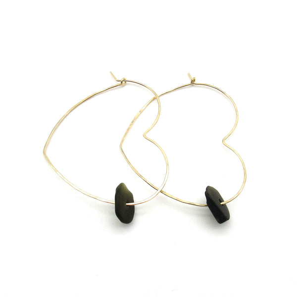 Heart Hoop Earrings | Olive Sea Glass & Gold