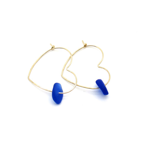 Heart Hoop Earrings | Sea Glass & Gold