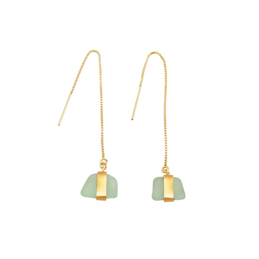 Aqua Sea Glass Gold Earrings