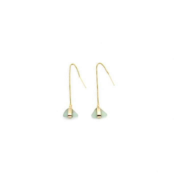 Aqua Sea Glass Gold Threader Earrings