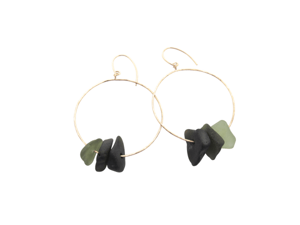 Kiah Earrings - Deep Olive Ombre (Ready to Ship!)